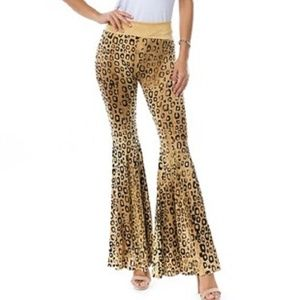 T Party Black & Gold Animal Print Mermaid Pants